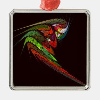 Chameleon Abstract Art Square Silver-Colored Square Ornament