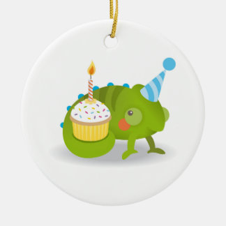 Chameleon birthday ceramic ornament