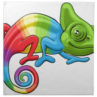 Chameleon Cartoon Rainbow Character Napkin