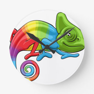 Chameleon Cartoon Rainbow Character Round Clock