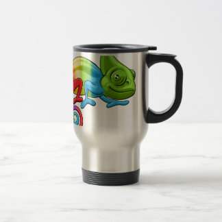 Chameleon Cartoon Rainbow Character Travel Mug