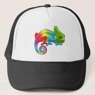 Chameleon Cartoon Rainbow Character Trucker Hat