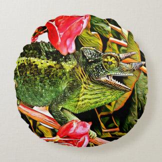Chameleon Charisma Round Pillow