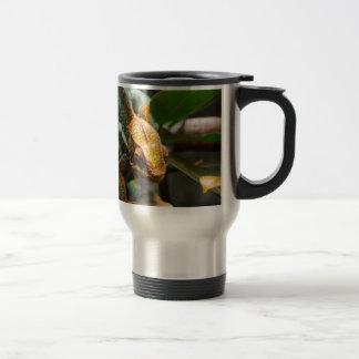 Chameleon coming forward travel mug