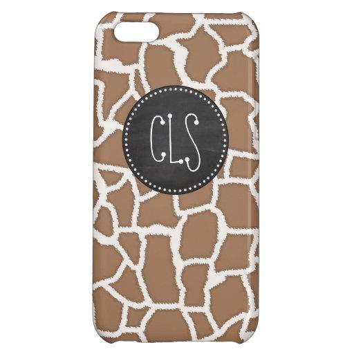 Chamoisee Giraffe Animal Print; Chalkboard look iPhone 5C Case