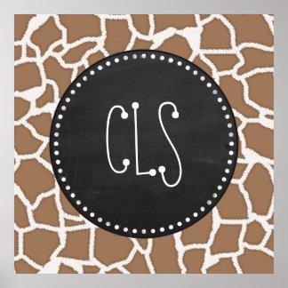 Chamoisee Giraffe Animal Print Chalkboard look