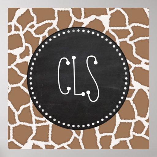 Chamoisee Giraffe Animal Print; Chalkboard look