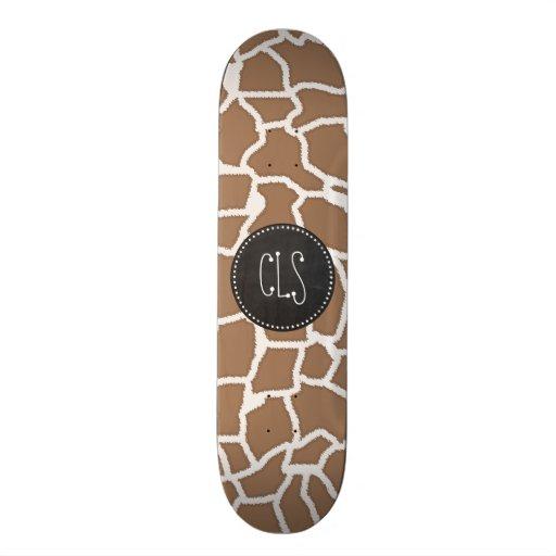 Chamoisee Giraffe Animal Print; Chalkboard look Skateboard