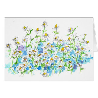 Chamomile Daisy Garden Blank Note Card Watercolor
