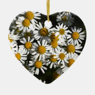 Chamomile flowers ceramic heart ornament