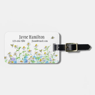 Chamomile Flowers Herbs Honey Bee Luggage Tag