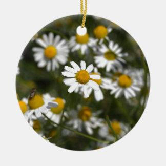 Chamomile flowers round ceramic ornament