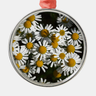 Chamomile flowers Silver-Colored round ornament