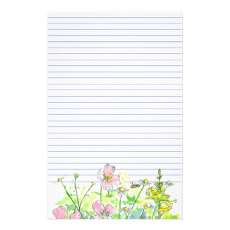 Chamomile Snapdragons Wildflowers Honey Bee Lined Stationery