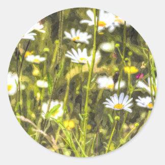 Chamomile Watercolour Classic Round Sticker