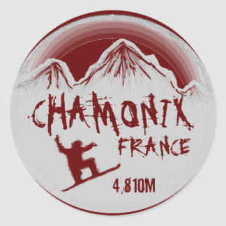 Chamonix France red snowboard art stickers