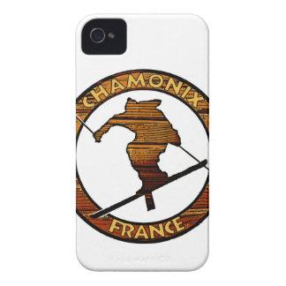 Chamonix France rustic wood skier design Case-Mate iPhone 4 Case