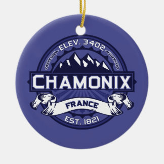 Chamonix Logo Midnight Ceramic Ornament