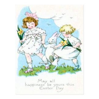 Champ de jonquille de Jonquil de lapin de Pâques Carte Postale