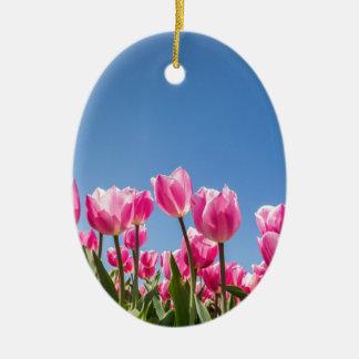 Champ rose de tulipes avec le ciel bleu ornement ovale en céramique