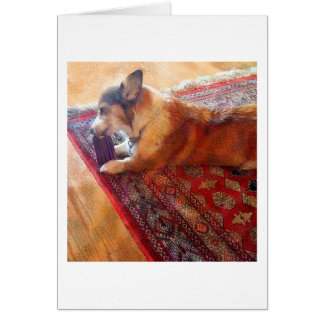 Champ with peanut butter bone card