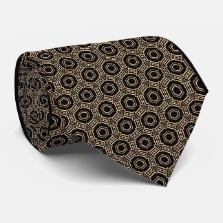 Champagne and Black Excellent Geometric Pattern Tie