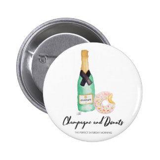 Champagne and Donuts Watercolor Button