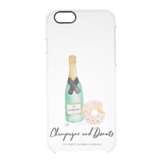 Champagne and Donuts Watercolor Clear Case