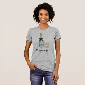 Champagne and Donuts Watercolor T Grey T-Shirt