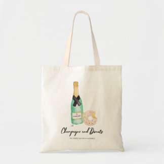 Champagne and Donuts Watercolor Tote