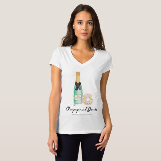 Champagne and Donuts Watercolor V-Neck T-Shirt