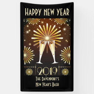 champagne and fireworks new years eve 2019 banner