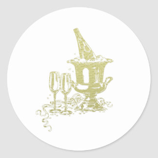 Champagne and Glasses Art Classic Round Sticker
