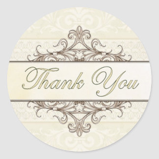 Champagne and Gold Filigree Thank You Sticker