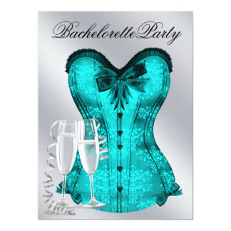 Champagne  and Teal Blue Corset Bachelorette Party Card