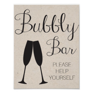 Champagne Bar Wedding Sign Poster