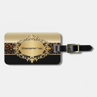 Champagne, Black and Leopard Animal Print Luggage Tag