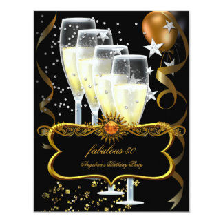 """Champagne Black Gold Balloons Birthday Party 4.25"""" X 5.5"""" Invitation Card"""