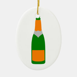 Champagne bottle ceramic ornament