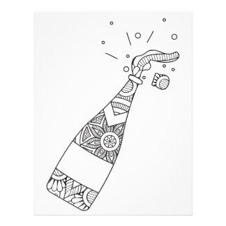 Champagne Bottle Coloring Page Letterhead