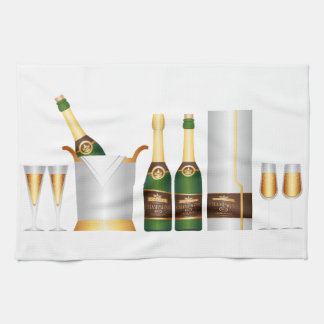 champagne bottles kitchen towel