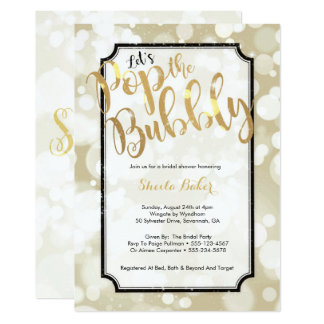 Champagne Bridal Shower Invitation- Pop the Bubbly Card