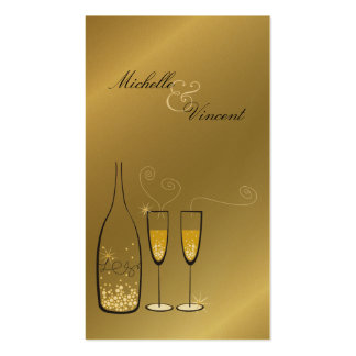 Champagne Bubbles Golden Thank You Gift Tag / Business Card