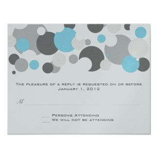 "Champagne Bubbles Light Blue RSVP 4.25"" X 5.5"" Invitation Card"
