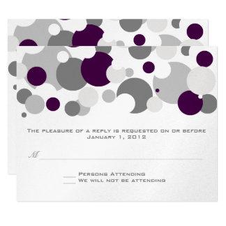 """Champagne Bubbles Purple/Silver RSVP 4.25"""" X 5.5"""" Invitation Card"""