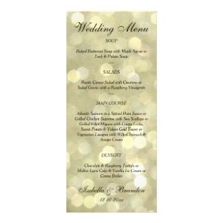 Champagne Bubbles Wedding Menu Customized Rack Card