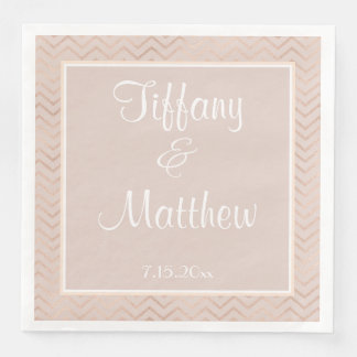 Champagne Chevrons Personalized Wedding Paper Dinner Napkin