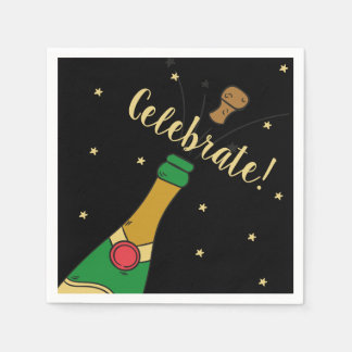 Champagne Cork Pop Special Celebrate Celebration Paper Napkin