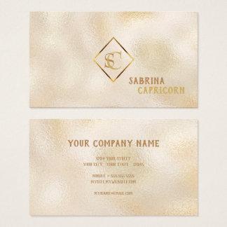 Champagne Dappled Glass Monogram Classic Elegance Business Card
