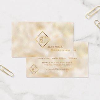 Champagne Dappled Monogram Classic Elegance Business Card